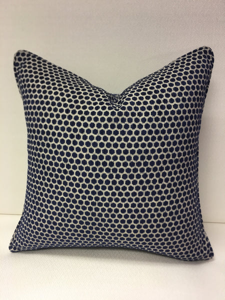 Duralee Blue , Beige Design Pillow Cover, Eurosham or Lumbar Pillow Accent Pillow, Throw Pillow