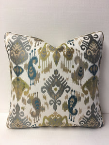 Fabricut  White , Blue, Grey, Gold colors Design Pillow Cover, Eurosham or Lumbar Pillow Accent Pillow, Throw Pillow