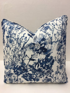 Fabricut  White Navy and Light Blue colors Design Pillow Cover, Eurosham or Lumbar Pillow Accent Pillow, Throw Pillow