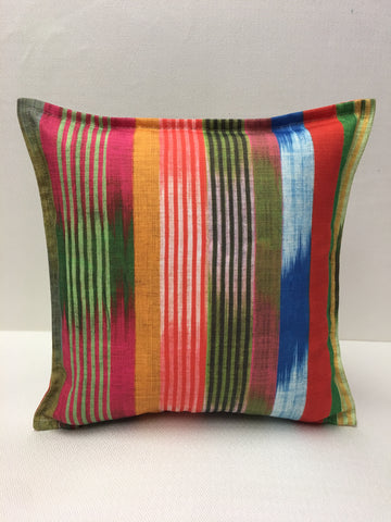 Durable Blue Red Green Yellow Stripe Design Pillow Cover, Eurosham or Lumbar Pillow Accent Pillow, Throw Pillow