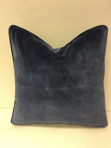 Duralee Blue velvet fabric Pillow Cover, Eurosham or Lumbar Pillow Accent Pillow, Throw Pillow