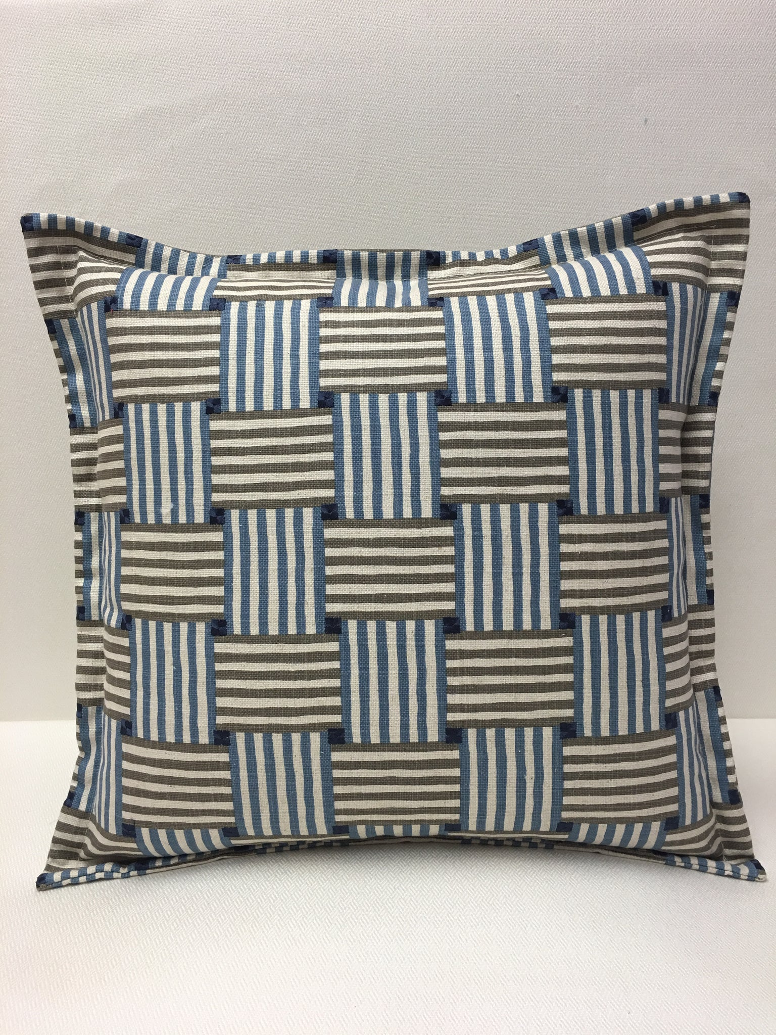 Kravet Blue Beige Navy Square/Stripe Design Pillow Cover, Eurosham or Lumbar Pillow Accent Pillow, Throw Pillow