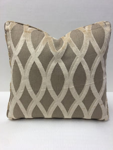 Thibaut  Beige, Brown, Tan Velvet Design Pillow Cover, Eurosham or Lumbar Pillow Accent Pillow, Throw Pillow
