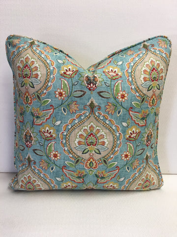 Duralee Blue floral  cotton, pink,beige Design Pillow Cover, Eurosham or Lumbar Pillow Accent Pillow, Throw Pillow