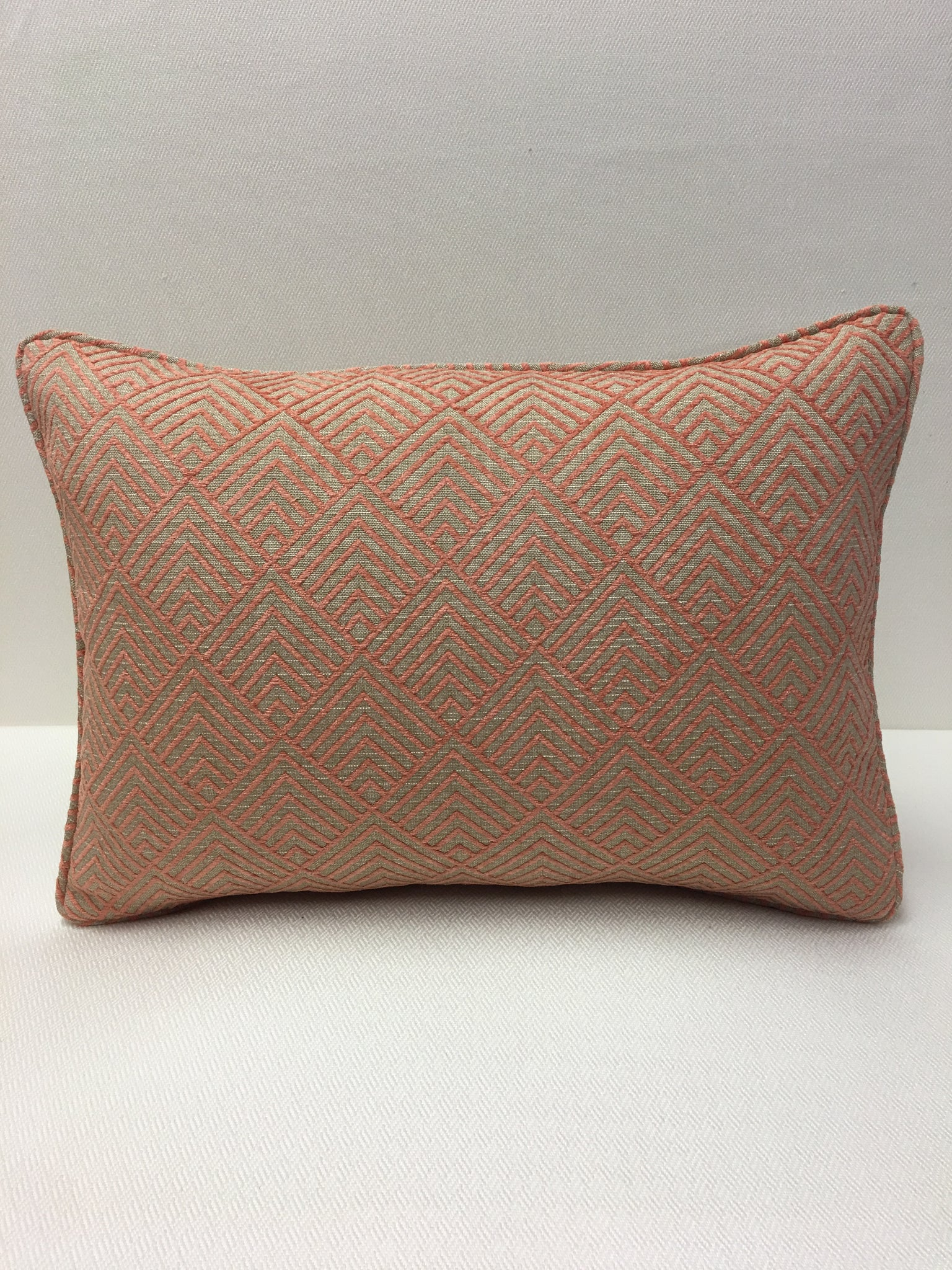 Brentano  Peach/Rose, Beige geometric Design Pillow Cover, Eurosham or Lumbar Pillow Accent Pillow, Throw Pillow