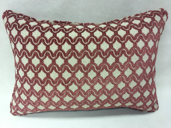 Colefax and Fowler Beige, maroon and Design Pillow Cover, Eurosham or Lumbar Pillow Accent Pillow, Throw Pillow