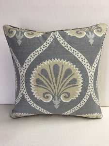 Duralee Grey, Tan, Beige Pillow Cover, Eurosham or Lumbar Pillow Accent Pillow, Throw Pillow
