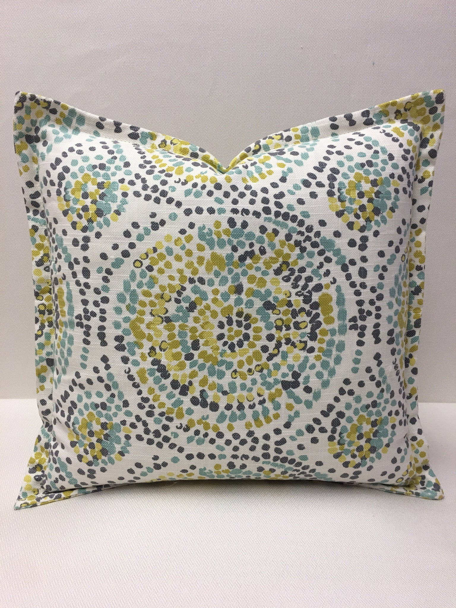 Duralee White cotton, Blue, Gold,Design Pillow Cover, Eurosham or Lumbar Pillow Accent Pillow, Throw Pillow