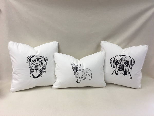 French Bulldog  embroidered pillow