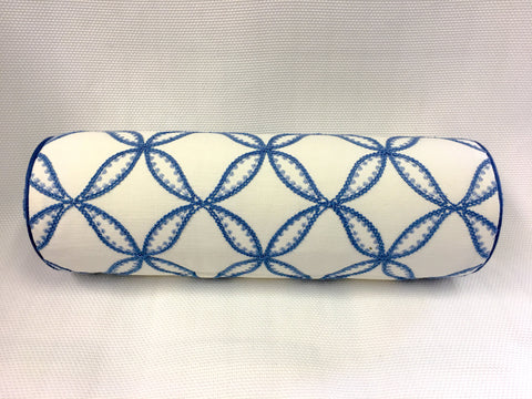Duralee White and Blue Bolster Pillow Cover, Eurosham or Lumbar Pillow Accent Pillow, Throw Pillow