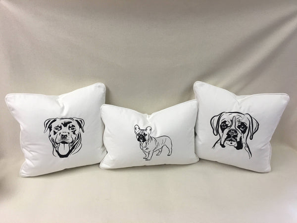 English Mastiff embroidered pillow