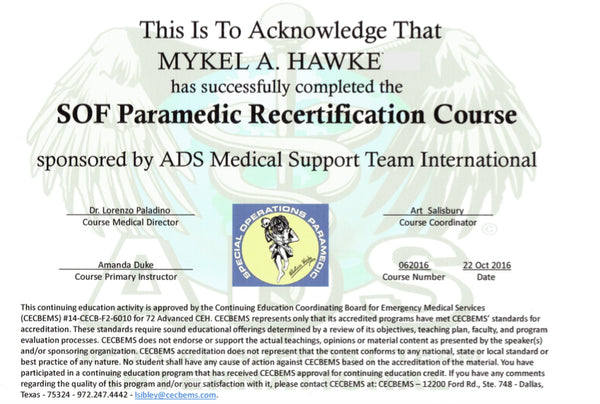Paramedic Recertification - Mykel Hawke