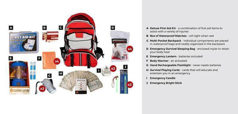 Image of 10PC Family Blackout Kit Red Waterproof Bags Back Pack Emergency Survival Kit - Survival Gear Systems