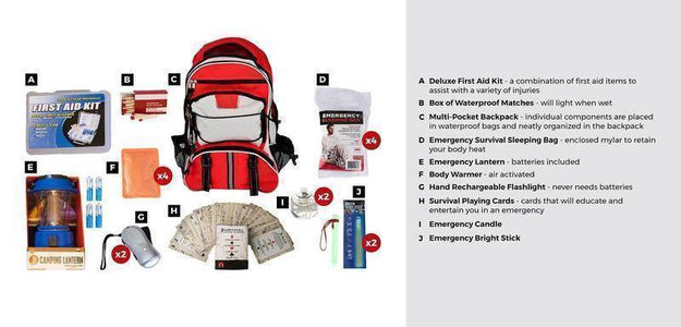 10PC Family Blackout Kit Red Waterproof Bags Back Pack Emergency Survival Kit - Survival Gear Systems
