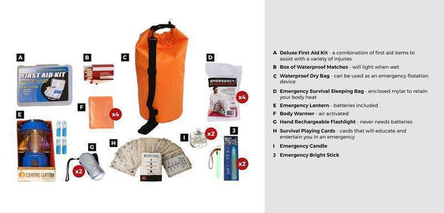 10Pc Family Blackout Kit Waterproof Dry Bag Deluxe First Aid Kit - Survival Gear Systems