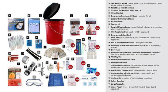 26Pc Guardian Survival Gear 4 Person Bucket Sewing Kit Multi Tools - Survival Gear Systems
