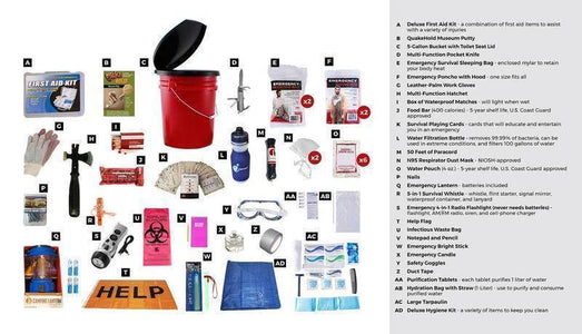 Hurricane Emergency Kit Food Bar water Pouches First Aid Kit With Bucket - Survival Gear Systems