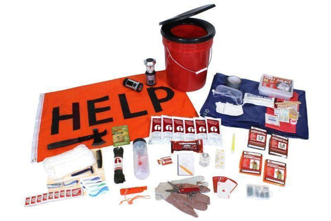 Image of Hurricane Emergency Kit Food Bar water Pouches First Aid Kit With Bucket - Survival Gear Systems