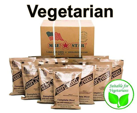 Image of MRE Star Case of 12 Single Complete MRE Meals - Vegetarian Variety with Heaters M-018HV