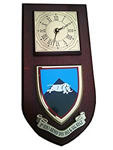 1st UK Armoured Division HQ & Signal Regiment Wall Plaque & Clock