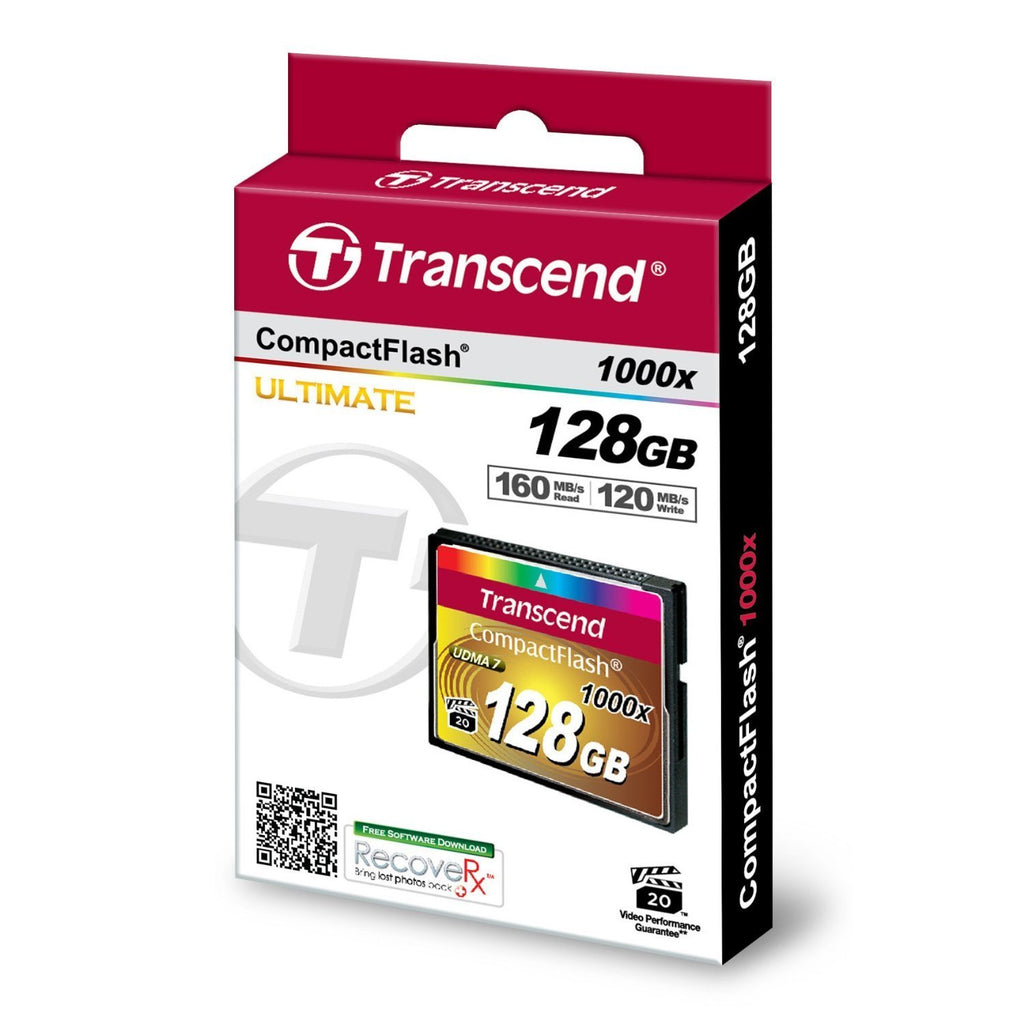 Transcend Ultimate 128 GB CompactFlash (CF) Card - 160 MBps Read - 120 MBps Write - 1 Card - TS128GCF1000
