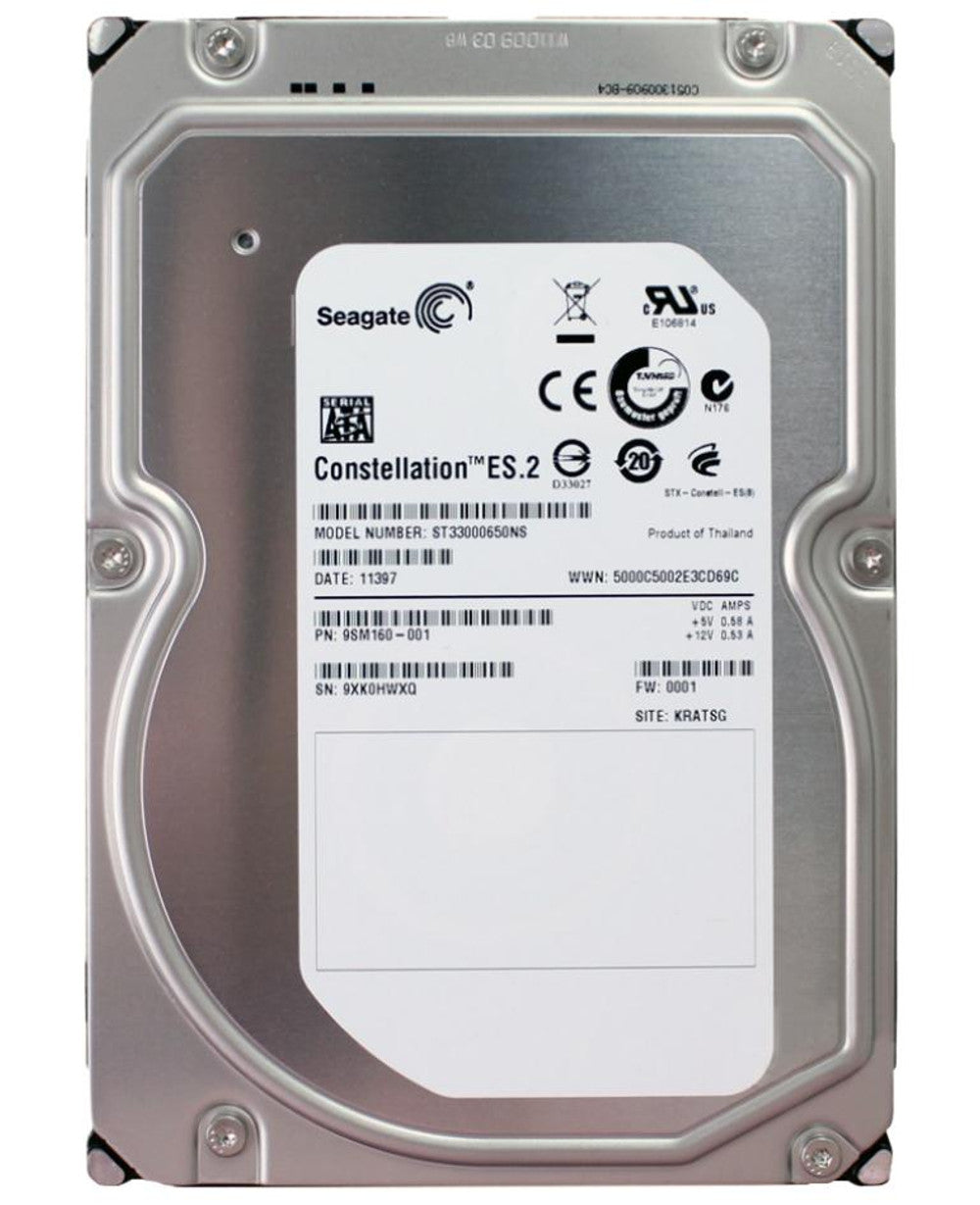 "Seagate-IMSourcing Constellation ES.2 ST33000650NS 3 TB 3.5"" Internal Hard Drive - SATA - 7200 rpm - 64 MB Buffer"
