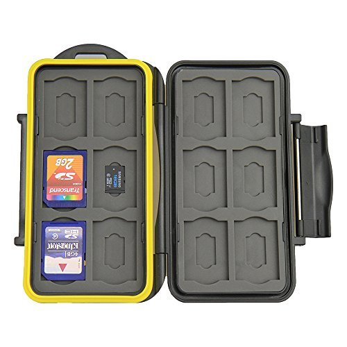 JJC MC-SDMSD24 Water-Resistant Holder Storage Memory Card Case & 12 Micro SD Cards (Black)