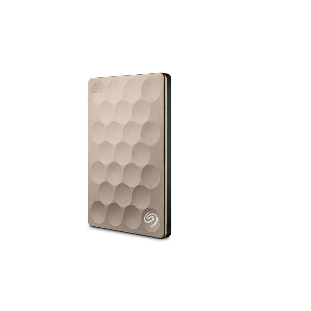 Seagate Backup Plus Ultra Slim STEH2000101 2 TB External Hard Drive - USB 3.0 - Portable - Gold - STEH2000101