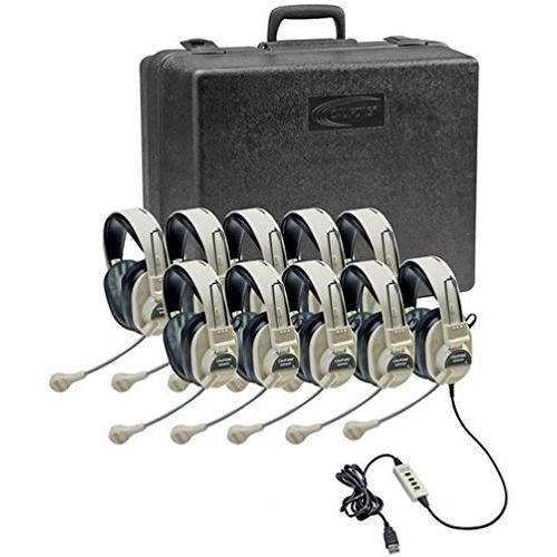 Califone 3066USB-10 Multimedia Headset Kit (10 Headsets with Storage Case)