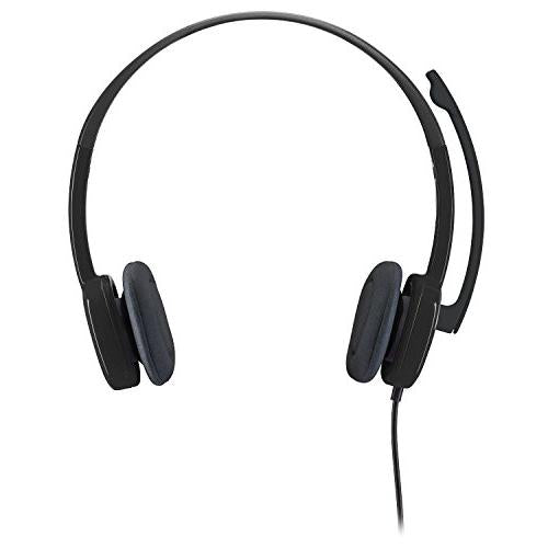 Logitech 3.5 mm Analog Stereo Headset H151 with Boom Microphone (981-000587) Plus Bonus USB Extenders