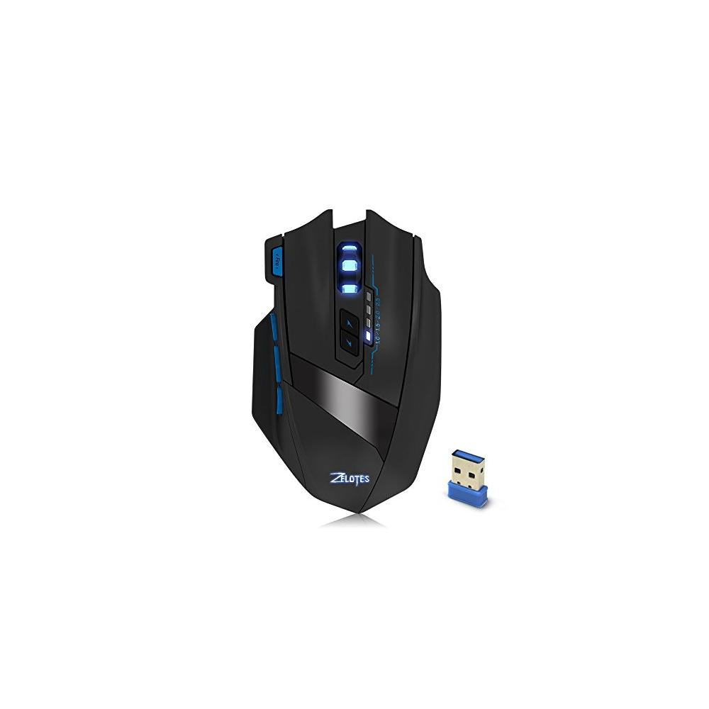 Zelotes F15 Wireless Gaming Mouse Rechargeable 2.4GHz Professional Optical with Adjustable 2500DPI for Gamer PC Laptop Desktop Notebook