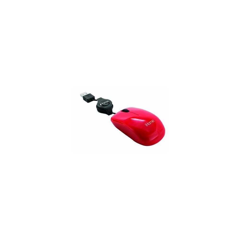 iHome by Lifeworks Technology IH-M1000R Tractable - Corded Travel Mouse (Red)