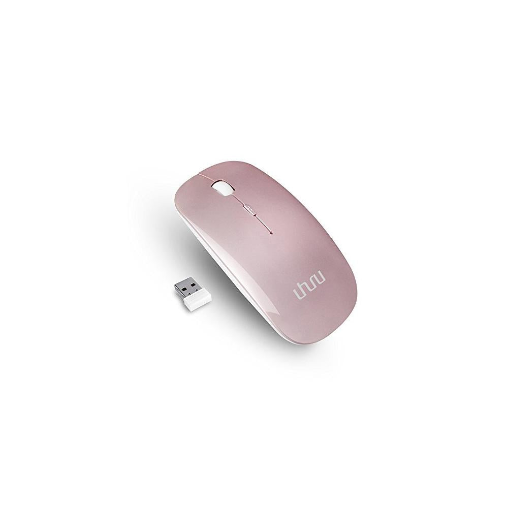 Wireless Mouse, UHURU 2.4G Silent Rechargeable and Portable Mouse with 3 DPI for Notebook, Pc, MAC, Laptop, Computer - New & Improved Version (Rose Gold)