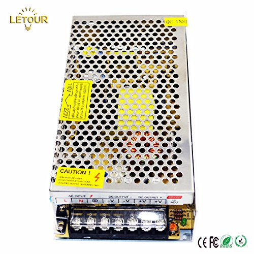 LETOUR 12V DC Power Supply 16.5A 200W AC 96V-240V Converter DC 12Volt 200Watt Adapter LED Power Supply for LED Lighting,LED Strip,CCTV