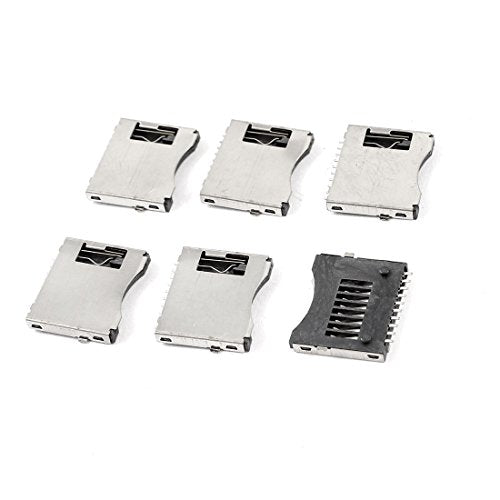 uxcell 6 Pcs SMT SMD Cell Phone TF Micro SD Memory Card Slot Holder Sockets