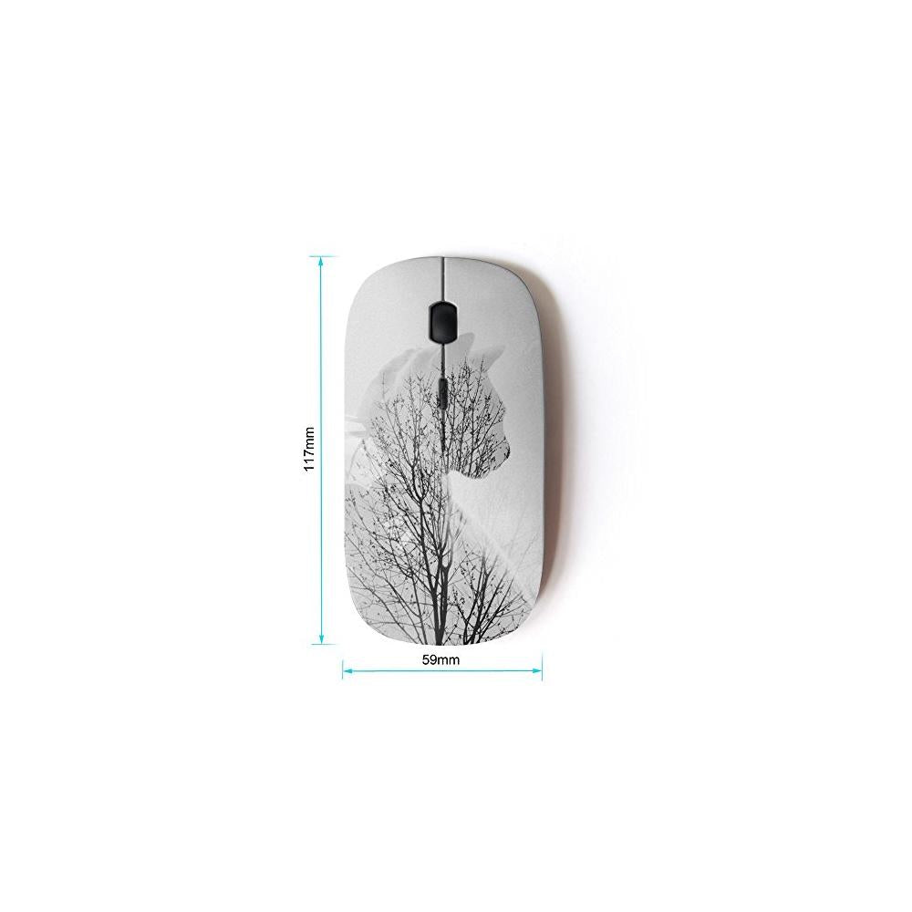 KOOLmouse [ Optical 2.4G Wireless Mouse ] [ Winter Cat Branches Tree Grey Clean Minimalist ]