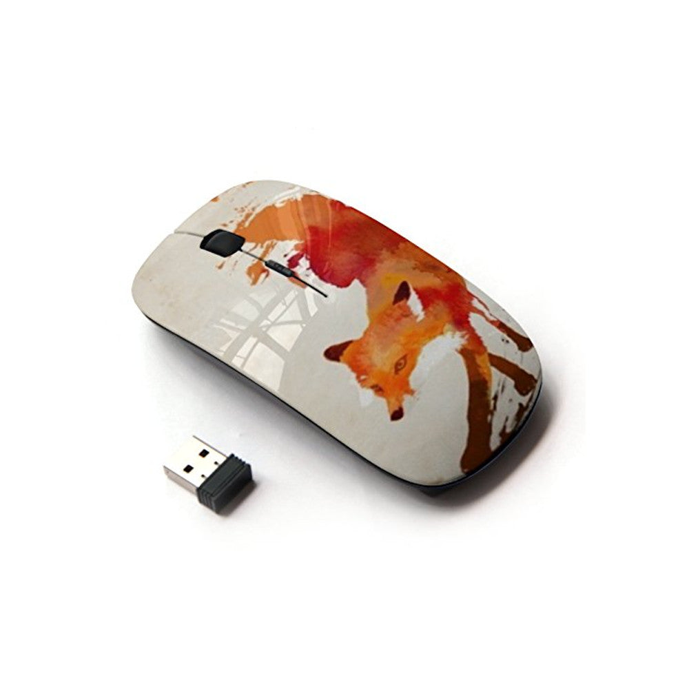 KOOLmouse [ Optical 2.4G Wireless Mouse ] [ Fox Red White Watercolor Painting Art ]