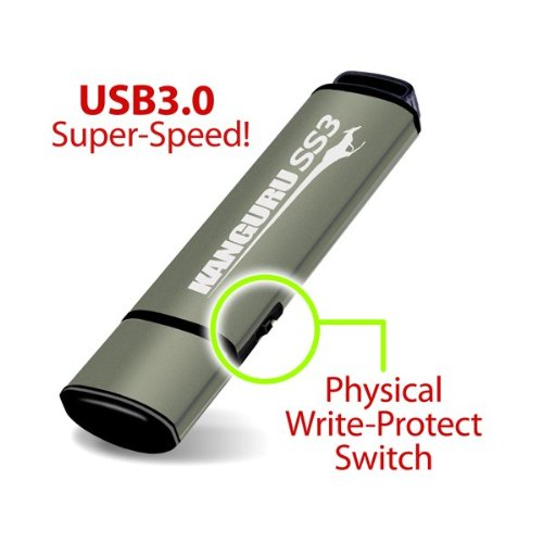 Kanguru SS3 USB 3.0 Flash Drive with Physical Write Protection Switch (KF3WP-64G)
