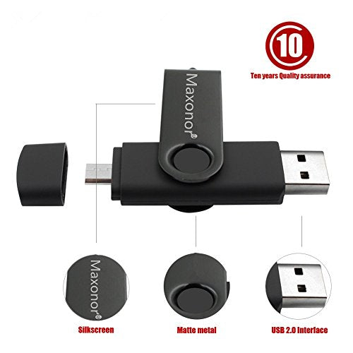 Maxonor 128GB USB 2.0 Flash Drive Real Capacity USB Stick For Windows PC,Android Pen Drive Memory Stick (128GB, Black)