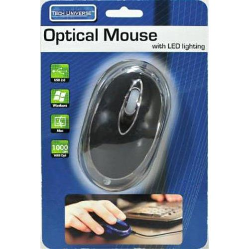 Tech Universe Optical Mouse With LED Lighting USB 2.0 800 DPI Wired