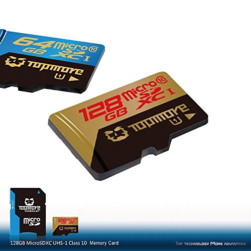 TOPMORE 128GB microSDXC UHS-1 Class 10 Flash Memory Card High Speed Memory Card with SD Adapter