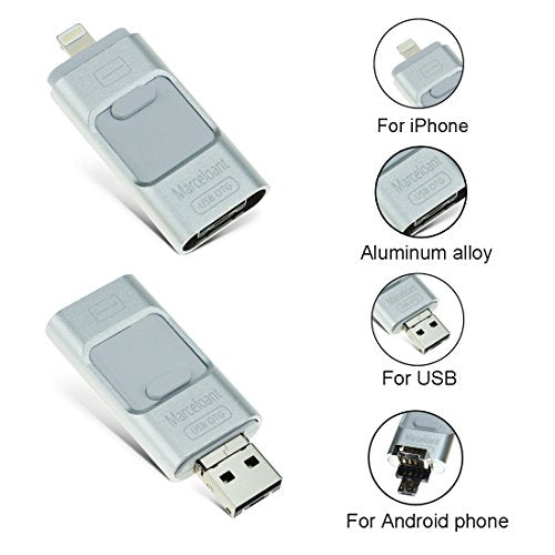 USB Flash Drives for iPhone 32GB Memory Stick, Marceloant OTG Flash Drive External Storage Flash Memory Pen Drive for iphone and ipad IOS Android [Upgraded Version] (Grey)