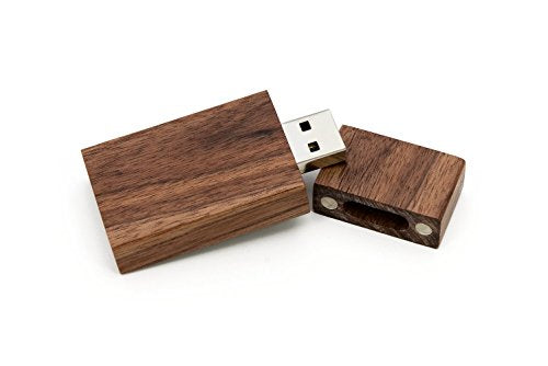 Walnut Wooden 2.0 USB Flash Drive - Inserted into a Matching Walnut Photo Box with Raffia grass inside. Holds 4x6 Photographs (8GB)