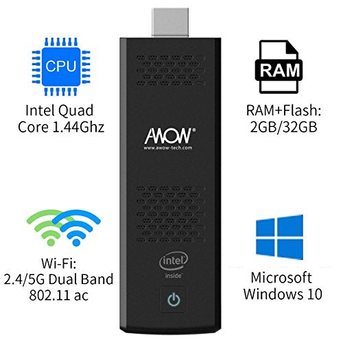 Compute Stick Mini PC Computer 2GB RAM / 32GB ROM - AWOW MP18 Windows 10 Home Edition with Intel Atom X5-Z8350 1.44GHZ Processor Built-in Dual Band WiFi Ultra-portable