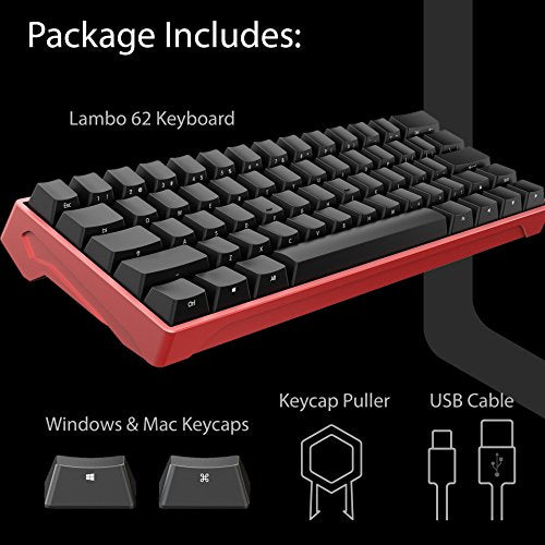 iQunix Lambo 62 Red Body with Black Keycaps Mechanical Keyboard, for  Programming, Designing, Gaming, works with Mac OS and Windows, includes  your