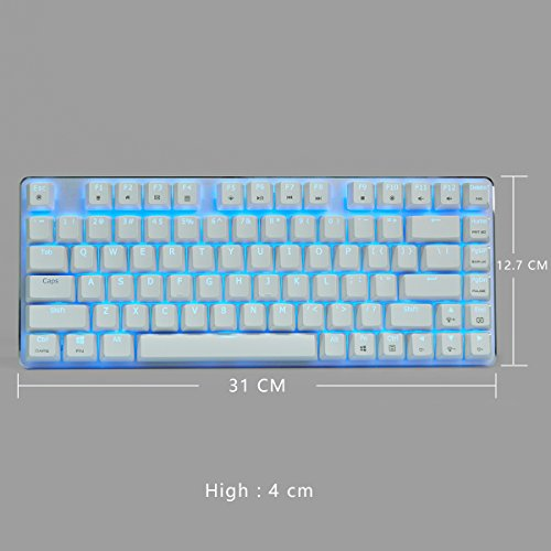 Mechanical Gaming Keyboard Blue Backlight GATERON Blue Switch 82-Keys(80%) Wired Mini Design Keyboard-Case White by Qisan