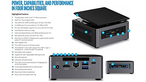 Intel NUC NUC7i7BNH Mini PC/HTPC, Intel Dual-Core i7-7567U Upto 4.0GHz, 8GB DDR4, Intel 180GB SSD, Wifi, Bluetooth, Thunderbolt 3, 4k Support, Windows 10 Pro