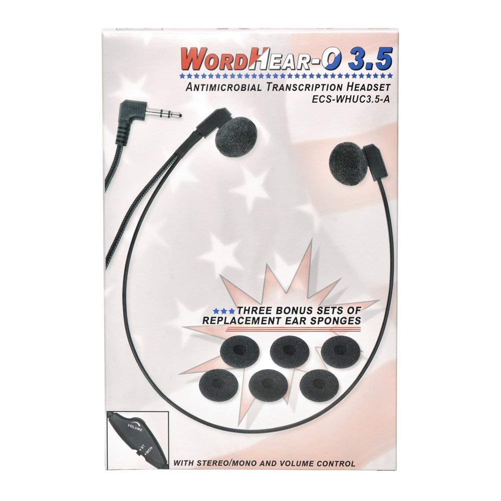 ECS WHUC3.5 WordHear-O 3.5 mm Under-chin Transcription Headset