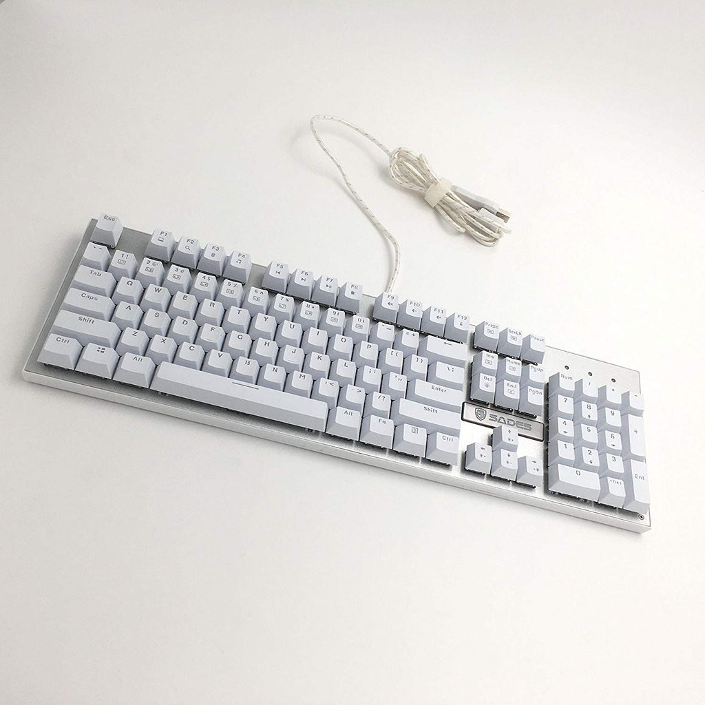 Sades K10 Mechanical Gaming Keyboard Blue Switch Raised Keycaps 7 Different Light Modes Wired Usb Plug