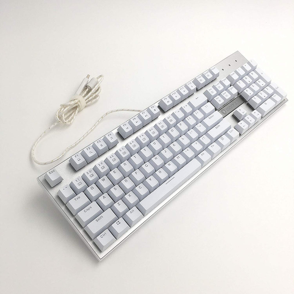 Sades K10 Mechanical Gaming Keyboard Blue Switch Raised Keycaps 7 Different Light Modes Wired USB Plug Play PC Silver